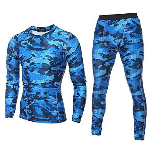 POLP Hombre Entrenamiento Polainas Fitness Deportes Gimnasio Correr Yoga Pantalones Deportivos + Traje de Camisa Apretado Ropa Slim Fit Gimnasio Mallas y Bodies 2pcs