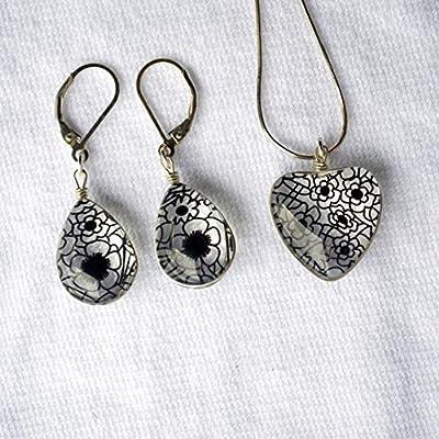 Noir Pensée Fleur de dentelle Cœur Amour 925 Sterling Argent Ensembles de bijoux Collier Des boucles d'oreilles