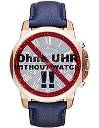 Fossil Uhrband Wechselarmband LB-FS4835 Original Ersatzband FS 4835 Uhrenarmband Leder 22 mm Blau