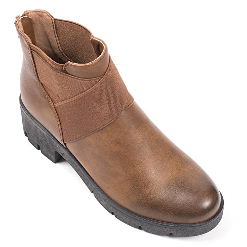 Ideal Shoes–Scarponcini in similpelle stile Chelsea con elastici priscaline Marrone