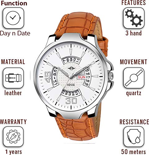 MINSK MK4069 Leather Strap Day and Date Boys Watch - for Men