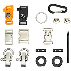 PSKOOK Paracord Hebillas Metal Side Release Silbido hebillas Mosquetón exterior O Shackles Aguja Toggle O Ring 16 piezas Set