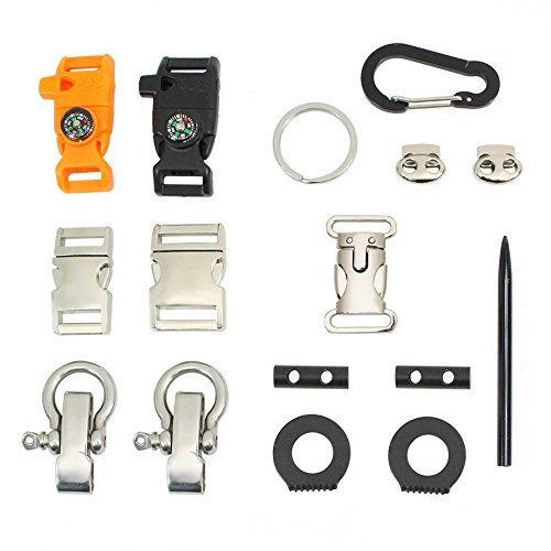 PSKOOK Paracord Schnallen Metall Side Release Whistle Schnallen Outdoor Karabiner O Fesseln Nadel Toggle O Ring 16 Stück Set -