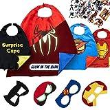 Costumi da Supereroi per Bambini - Regali di Compleanno - Costumi di Carnevale - 4 Mantelli e Maschere - Logo di Spiderman Visibile al Buio – Giocattoli per Bambini e Bambine