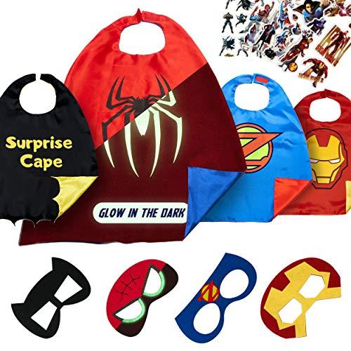 Jungen Kostüm Superhelden Set - Dropplex Superhelden Kostüm für Kinder - Kleinkind Superhelden Party Outfit - Spielzeug für Jungen und Mädchen - 4 Capes Und Maske - Im Dunkeln Leuchtendes Spiderman Logo