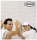 Arthome 3D Carta da Parati Mattoni Bianco,3d Muro Pannelli, 3d Muro Adesivi Pannelli,Carta da Parati per Cucina,Ufficio, Bagno, Soggiorno, Sfondo TV(10 pezzi -56.9 piedi quadrati)