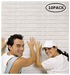 Idea Regalo - Arthome 3D Carta da Parati Adesiva Mattoni Bianco, 77cm x 70cm Moderno Pannelli Decorativi 3D per Parete, Impermeabile Spessore Wallpaper per Cucina, Ufficio, TV Sfondo (10 Pcs)
