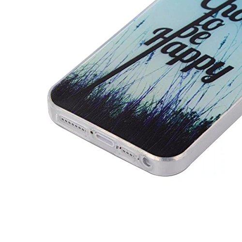 Etsue TPU Schutzhülle für iPhone SE/iPhone 5S Silikon Handyhülle, Malerei Muster Einzigartig TPU Silikon Handytasche Schön Weiche Schlank TPU Silikon Cover Ultradünnen Kristall Klar Rahmen Rückseite T Blau Himmel,Gras