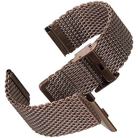 Geckota® Milanaise Maschen, Metall Uhrenarmband / Satin, Dunkel Kupfer Braun, 22mm (Chronograph Metal-band)