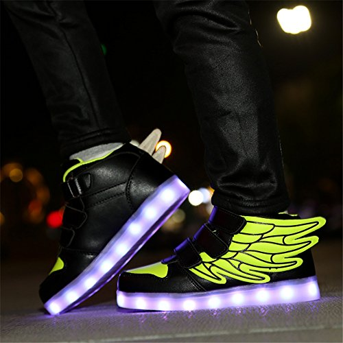 KuBua Chaussures Enfant LED Lumineuses Adulte 7 Couleur USB Charge Montantes Chaussure Lumineuse Lumineux Lumière Light Clignotant Sports Baskets Garçon Fille 25-37 Vert
