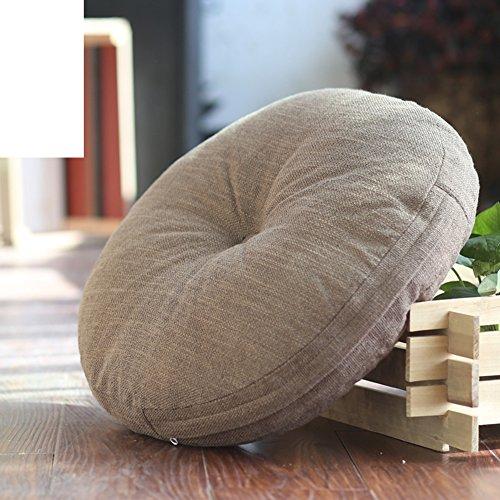 LJ&XJ Bodenkissen,Runde sitzkissen erhöhen verdickt für büro stock erker tatami student hocker bank kissen yoga kissen natürlichen leinen futon sofakissen-H 45x45cm(18x18inch) Yoga-futon