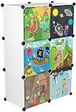 KEKSKRONE - Kinder Kleiderschrank mit Bunten Abenteuer Motiven - Weiß 6 Module - DIY Steckregal Inklusive Kleiderstange