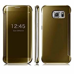 AEMA (TM) Premium Galaxy A8 Case Fashion Luxury Glossy Mirror Clear View Smart Date/Time [Hyperbolic Mirror] Flip Case Cover for Samsung Galaxy A8 (SILVER)