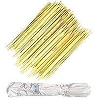 Set aus 80 Bambus Stricknadel Doppelendiges - Stricknadeln aus Holz Größen von (2mm to 12mm) Ideal für Hut, Socke, Handschuhe und Klein Kreis Stricken Projekte mit Baumwolletui (Stricknadeln 20cm)