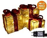 ANSIO Decorativi LED Cofanetti Regalo-Regali di Natale Decorazioni Natalizie-Pre-Lit 55 Caldo Bianco Scatola Regalo LED con Nastro Rosso-Set di 3, Pre Illuminati Confezioni Glitter, Rete azionata
