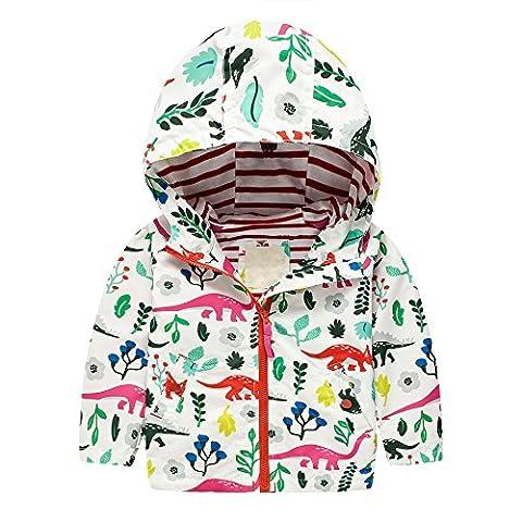 Nice Dia - Regenjacke Kinder Mädchen Softshell-Jacke Wasserdicht Gefüttert Warm Aufdruck Kinder Jacket mit Kapuze Regenmantel Herbst Winter Sportjacke Outdoor (Weiß2, 92/98)