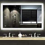 Turefans Espejo de baño,Espejo led,Blanco frío + Interruptor táctil + antivaho + 2835LED (70 * 90 cm)