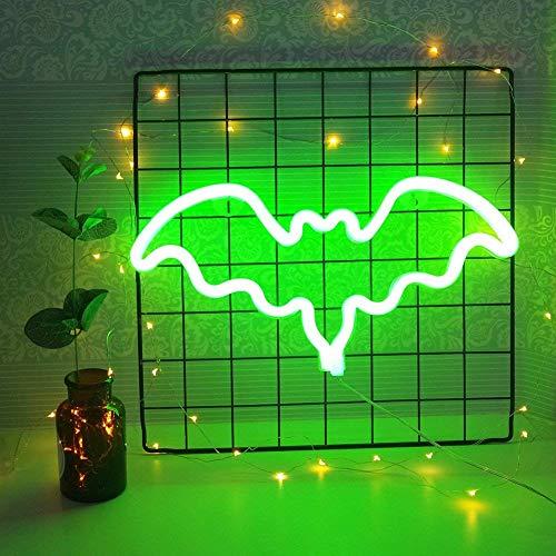 Neonlicht LED Nachtlicht Bat Shaped Neon Zeichen Wand Dekorative für Mädchen Kinder Geburtstag Room Decor Party Dekoration (Grün) (Rosa Und Grüne-wand-dekor)