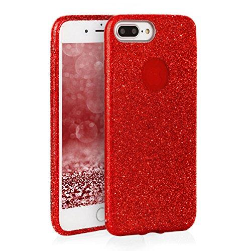 Für iPhone 8 Glitzer Hülle EGO® | TPU Handyhülle Glamour Schutzhülle weich Stoßfest Bumper – Schwarz Rot