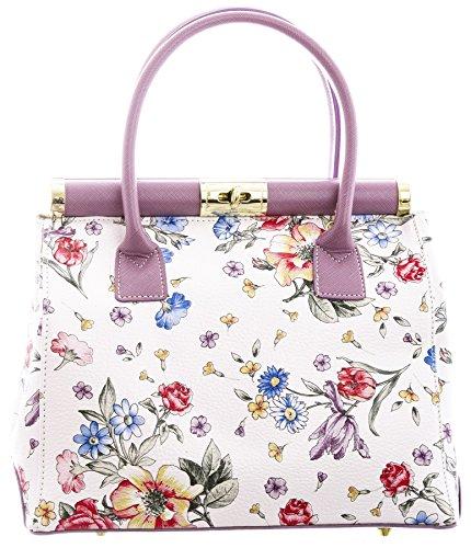 Big Handbag Shop Laura Borsa Maniglia Superiore Borsa a tracolla in vera pelle italiana Lilac (BG505)