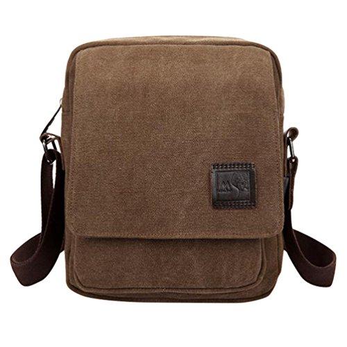 Baymate Unisex Canvas Schultertasche Handtasche Tasche Freizeit Messenger Bag Braun