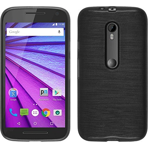 PhoneNatic Custodia per Motorola Moto G 2015 3. Generation Cover Argento Brushed Moto G 2015 3. Generation in Silicone + Pellicola Protettiva