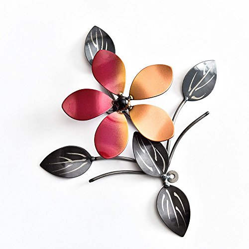 Metal Wall Art Decor Outdoor and Indoor,Decorative Red Metallic Luster Flower Vine Decor Wall Mount and Decor Metal Wall Hanging Bedroom , Living Room, Porch, Garden, Patio, Yard and Hotel