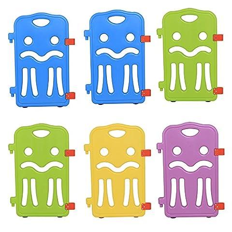 Seelux Elemente für Kinder Laufgitter aus Kunststoff mit Saugnäpfe in vier Farben (6 Stück)