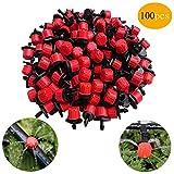 Xutong - Sistema di irrigazione a goccia, 100 pezzi, regolabile, anti-intasamento, colore: rosso