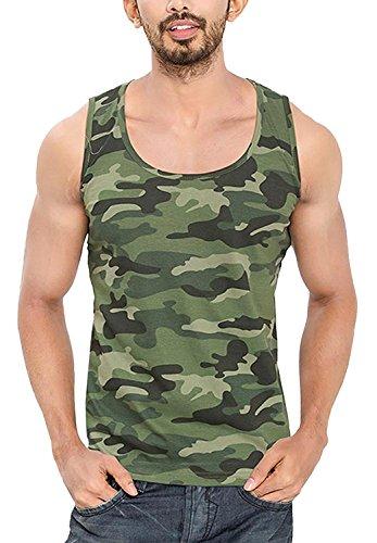 KrystleMen\'s Cotton Sleeveless Army Camouflage Print Sports Vest (Large)