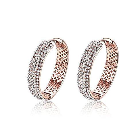 Yeahjoy Bling Bijoux pour femme Plaqué or rose en forme de cercle cristal pavé Boucles d'oreilles créoles