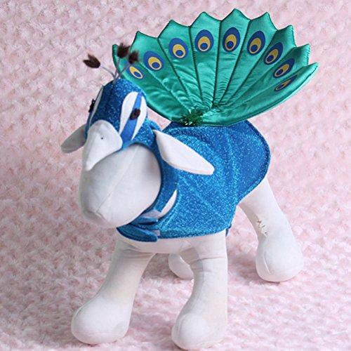 UEETEK Pet Kostüm für Party, Welpen Hund Katze Pfau Cosplay Kostüm Outfit für Weihnachten Karneval Party Kleid Kleidung