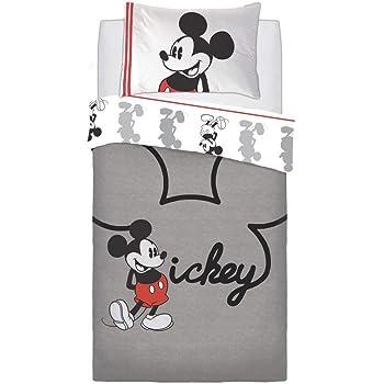 Hendem® Mickey Jersey Bambini Carattere Pannello Copripiumino Reversibile Policotone Set Biancheria da Letto con Federa, Singolo