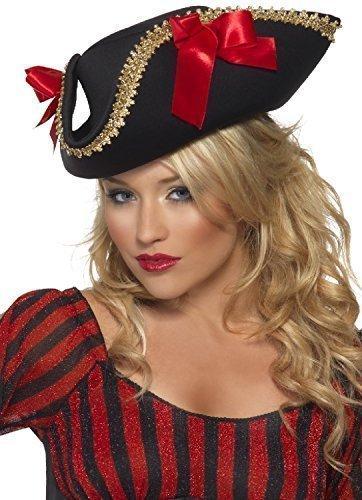 iz rot und Schwarz Luxus Verwegene Piraten-Party Kostüm Hut (Verwegene Piraten Kostüm)