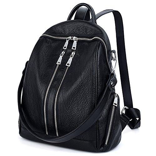 UTO Damen Rucksack Geldbörse PU Washed Leder Cabrio Damen Rucksack Reißverschlusstaschen Crossbody Umhängetasche Schwarz - Washed Leder Umhängetasche