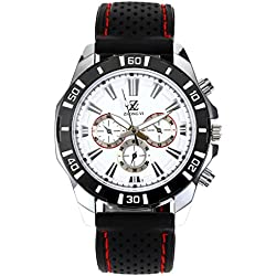 Top Plaza Mens Black Silicone Watch Band Casual Quartz Watch With 3 Small Fake Dial(Red Line)