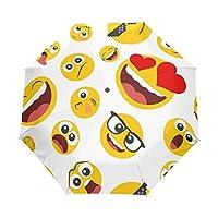 Funnyy Automatic Folding Umbrella Funny Emoji Emoicons Pattern Auto Open Compact Portable Travel Umbrella for Girls Boys Women