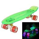 Hikole Skateboard Kinder - 55 cm Mini Cruiser Board mit LED Leuchtrollen/Deck - Komplett Penny Board für Erwachsene Kinder Jungen Mädchen ab 5 Jahre
