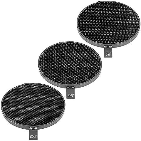 Neewer® 7 pulgadas / 18 cm estándar Reflector Difusor con 10/30/50 Grado rejilla del panal para el montaje de Bowens Studio luz estroboscópica flash