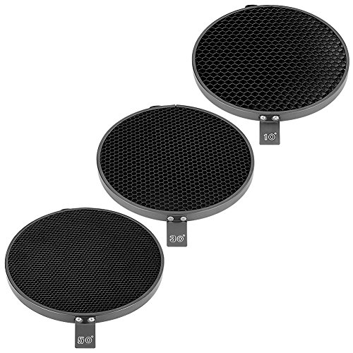 phot-r-3x-7-10-30-50-degree-honeycomb-grid-eggcrate-kit-set-for-18cm-bowens-s-type-elinchrom-reflect