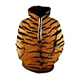 YZFZYLW 3D Sweatshirts Print Mode Männer Frauen Druck Persönlichkeit Tiger Mustermuster Freizeit Lose Mit Kapuze Hoodies Unisex Paar Tops, L