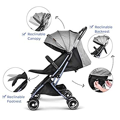 Besrey leicht kinderwagen Flugzeug Buggy mit Liegeposition kann ins Flugzeug mitnehmen klein zusammenklappbar für Baby ab Geburt bis 3 Jahren