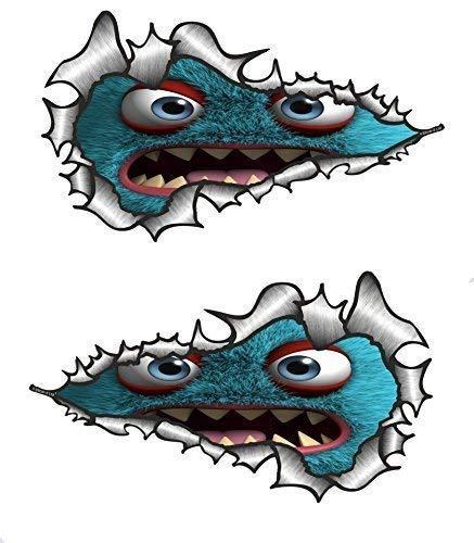 Sticar-it Ltd Langes Paar ZERRISSENES METALL Lustig Niedlich Blau Monster Vinyl Auto Aufkleber Sticker - groß 200x115mm jede (Lustig, Niedlich, Paar)