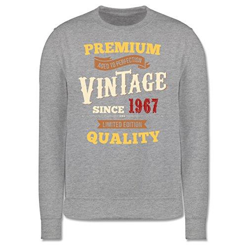 Geburtstag - 50. Geburtstag Vintage 1967 - Herren Premium Pullover Grau Meliert