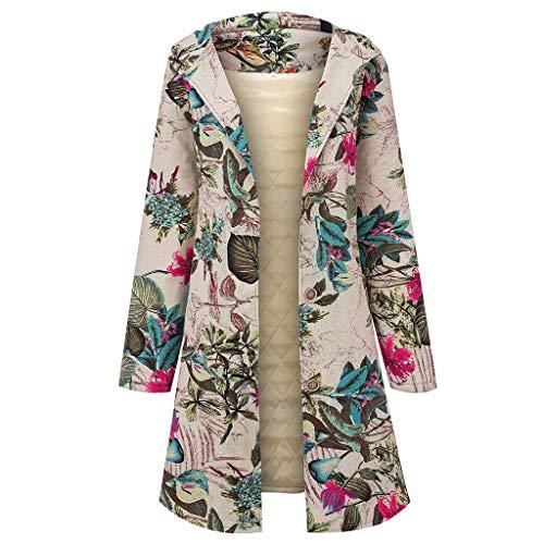 WOZOW Manteau Long à Manches Longues Vintage avec Capuche pour Femme Grande Taille Hiver Chaud Veste en Coton Lâche Poches Imprimées Plus épais Hasp Outwear(Rose,3XL)
