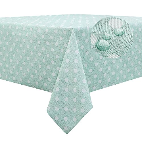 FANCY-FIX Wachstuchtischdecke abwaschbare Tischdecke aus Vinyl Wachstuch | pflegeleicht | Grün mit weißen Punkte - Design | rechteckig, 137 x 200 cm (Grüne Tischdecke Vinyl)