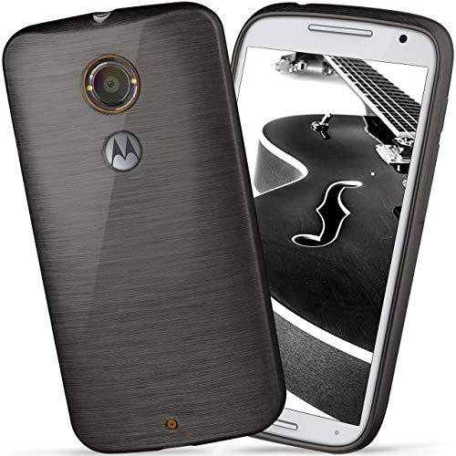 moex Motorola Moto X2 | Hülle Silikon Schwarz Brushed Back-Cover TPU Schutzhülle Ultra-Slim Handyhülle für Motorola Moto X 2. Generation Case Dünn Silikonhülle Rückseite Tasche