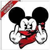 SkinoEu 2 x PVC Autocollant Stickers Mickey Mouse Majeur Doigt du Milieu pour Moto Fenêtre de Voiture Porte Casque de Scooter Vélo Tuning Idée Cadeau B 31