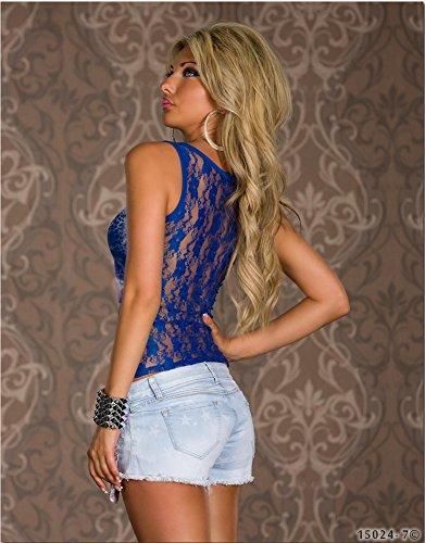 Estelle Fashion - Débardeur - À Fleurs - Femme Taille Unique Bleu - Bleu