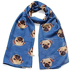 Bufanda Moda by LilyRosa - Azul con Beige diseño con imagen pug